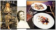 """Karen Small, Chef and owner of  """"Flying Fig,"""" Cleveland, Ohio. Left to Right: as featured for  Cleveland Style; portrait and food for a la Carte, all featured in Cleveland Magazine."""