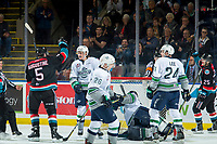 KELOWNA, CANADA - OCTOBER 10: Cayde Augustine #5 congratulates Kyle Crosbie #25 of the Kelowna Rockets on his first WHL goal of his career during second period against the Seattle Thunderbirds  on October 10, 2018 at Prospera Place in Kelowna, British Columbia, Canada.  (Photo by Marissa Baecker/Shoot the Breeze)  *** Local Caption ***