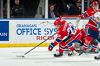 KELOWNA, BC - MARCH 13: Luke Toporowski #22 of the Spokane Chiefs clears the puck from in front of the net against the Kelowna Rockets at Prospera Place on March 13, 2019 in Kelowna, Canada. (Photo by Marissa Baecker/Getty Images)