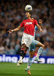 MANCHESTER, ENGLAND - Monday, April 30, 2012: Manchester United's Nani during the Premiership match at the City of Manchester Stadium. (Pic by David Rawcliffe/Propaganda)