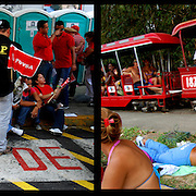 DAILY VENEZUELA II / VENEZUELA COTIDIANA II<br /> Photography by Aaron Sosa <br /> <br /> Left: Concentration of Chavez supporters on May 1, Labour Day, Caracas - Venezuela 2009 / Concentracion de simpatizantes del chavismo el 1ero de Mayo, dia del trabajador, Caracas - Venezuela 2009<br /> <br /> Right: Club Paracotos, Miranda State - Venezuela 2007 / Club Paracotos, Estado Miranda - Venezuela 2007<br /> <br /> (Copyright © Aaron Sosa)