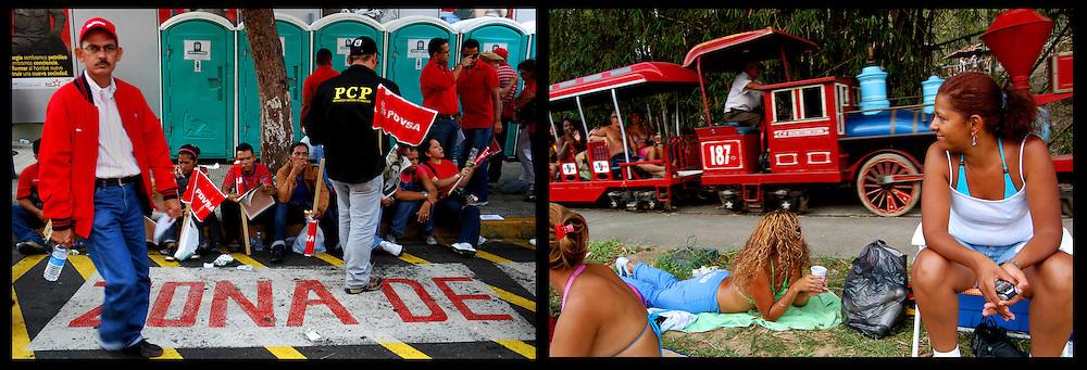DAILY VENEZUELA II / VENEZUELA COTIDIANA II<br /> Photography by Aaron Sosa <br /> <br /> Left: Concentration of Chavez supporters on May 1, Labour Day, Caracas - Venezuela 2009 / Concentracion de simpatizantes del chavismo el 1ero de Mayo, dia del trabajador, Caracas - Venezuela 2009<br /> <br /> Right: Club Paracotos, Miranda State - Venezuela 2007 / Club Paracotos, Estado Miranda - Venezuela 2007<br /> <br /> (Copyright © Aaron Sosa)