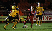 Gwion Edwards on the attack during the Sky Bet League 2 match between Crawley Town and Newport County at the Checkatrade.com Stadium, Crawley, England on 1 March 2016. Photo by Michael Hulf.