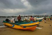 Fishing boats on the beach at Negombo.
