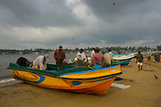 Fishing boats on the beach at Negombo.