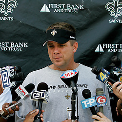 08 May 2009: Saints head coach Sean Payton talks with the media following the morning practice on day one of the New Orleans Saints rookie minicamp held at the team's practice facility in Metairie, Louisiana.