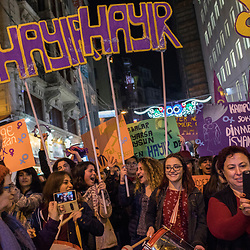 March in Istiklal street in central Istanbul on International Women's day, March 8, 2017. Many of the groups attending support the No (Hayir) vote.<br /> On April 16, 2017, Turkish citizens will vote on proposed changes on the constitution that could replace the current parliamentary government system with a presidential one.