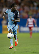FRISCO, TX - JUNE 22:  Kei Kamara #23 of Sporting Kansas City brings the ball up field against FC Dallas on June 22, 2013 at FC Dallas Stadium in Frisco, Texas.  (Photo by Cooper Neill/Getty Images) *** Local Caption *** Kei Kamara