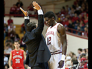 Tom Crean has a little talk with Hanner Mosquera-Perea at Assembly Hall Sunday, November 17, 2013. Indiana University hosted Samford University at Assembly Hall Sunday, November 17, 2013.