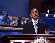 Jul 27, 2004, BOSTON, MA, USA --  J. KIELY JR. PHOTO - Illinois United States Senate Candidate Barack Obama speaks during Tuesday's second full day of the 2004 Democratic National Convention which is being staged at the FleetCenter arena on Causeway Street.