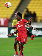 Adelaide United's Bruce Kamau & Phoenix' Tom Doyle battle for possession during the Round 22 A-League football match - Wellington Phoenix V Adelaide United at Westpac Stadium, Wellington. Saturday 5th March 2016. Copyright Photo.: Grant Down / www.photosport.nz