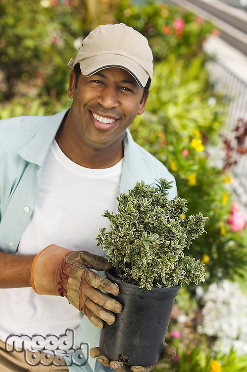 Man Ready to Work in Garden