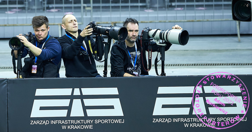 (L-R) Photographer Maciej Gilert (Epoka Agency) and Piotr Hawalej (Wrofoto Agency) and Artur Kraszewski (Art Press Photo Agency APPA) during First Day of the Fed Cup / World Group 1st round tennis match between Poland and Russia at Tauron Krakow Arena on February 7, 2015 in Cracow, Poland.<br /> <br /> Poland, Cracow, February 7, 2015<br /> <br /> Picture also available in RAW (NEF) or TIFF format on special request.<br /> <br /> For editorial use only. Any commercial or promotional use requires permission.<br /> <br /> Adam Nurkiewicz declares that he has no rights to the image of people at the photographs of his authorship.<br /> <br /> Mandatory credit:<br /> Photo by &copy; Adam Nurkiewicz / Mediasport