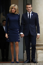 November 10, 2018 - Paris, France - French President Emmanuel Macron and his wife Brigitte Macron on November 10, 2018 in Paris, France. President Trump is in Paris to participate in the international ceremony of the Armistice Centenary of 1918 at the Arc de Triomphe on November 11, 2018. Heads of State from around the world meet in Paris to commemorate the end of the first World War (WWI) (Credit Image: © Mehdi Taamallah/NurPhoto via ZUMA Press)