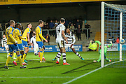 Forest Green Rovers Christian Doidge(9) heads the ball scores a goal 3-1 during the Vanarama National League match between Torquay United and Forest Green Rovers at Plainmoor, Torquay, England on 26 December 2016. Photo by Shane Healey.