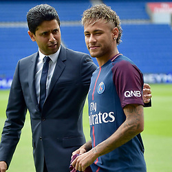 Nasser Al-Khelaifi and Neymar  during a press conference at the Parc des Princes, following his world record breaking £200million transfer from FC Barcelona to Paris Saint Germain. <br /> August 4, 2017 in Paris, France. <br /> Photo by MPP / Visual /Icon Sport