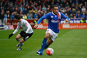 Carlisle United Forward Derek Asamoah attacks again during the The FA Cup fourth round match between Carlisle United and Everton at Brunton Park, Carlisle, England on 31 January 2016. Photo by Craig McAllister.