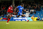 Gillingham FC defender Adedeji Oshilaja (6) gets through on goal during the EFL Sky Bet League 1 match between Gillingham and Shrewsbury Town at the MEMS Priestfield Stadium, Gillingham, England on 28 January 2017. Photo by Andy Walter.