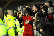 Match winning goalscorer Sandro Semedo (22) of Leyton Orient celebrates the 3-2 win over Plymouth with the fans at full time during the EFL Sky Bet League 2 match between Plymouth Argyle and Leyton Orient at Home Park, Plymouth, England on 14 February 2017. Photo by Graham Hunt.