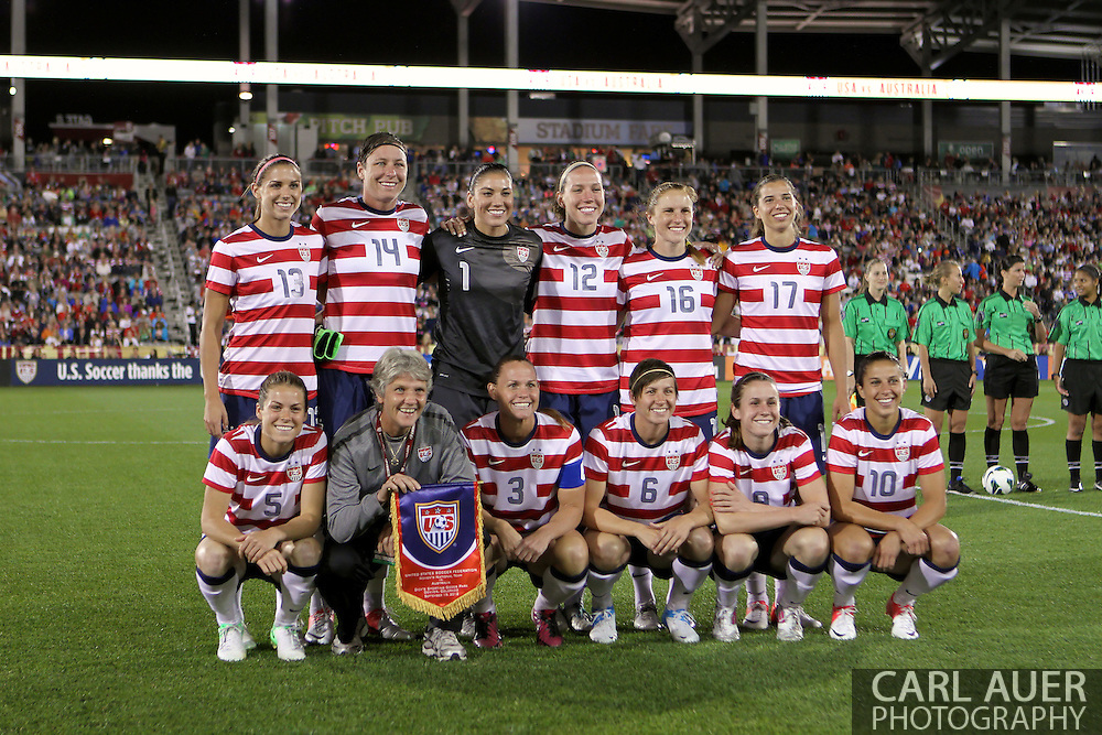 September 19, 2012 Commerce City, CO.  USA head coach Pia Sundhage poses with her team one last time prior to the Soccer Match between the USA Women's National Team and the Women's Australian team at Dick's Sporting Goods Park in Commerce City, Colorado