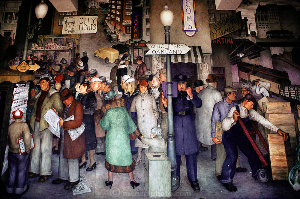 Works Project Administration (WPA) mural portrays city life. Coit tower, San Francisco, California. USA The murals in Coit Tower were painted under the supervision of Mexican artist Diego Rivera during the 1930's, and carry strong socialist themes. They were very controversial at that time.