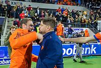 AMSTELVEEN - bondscoach Max Caldas (Ned) met assistent bondscoach Rick Mathijssen (Ned)  na   de tweede  Olympische kwalificatiewedstrijd hockey mannen ,  Nederland-Pakistan (6-1). Oranje plaatst zich voor de Olympische Spelen 2020.   COPYRIGHT KOEN SUYK