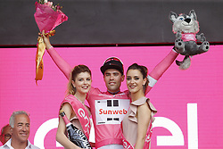 May 4, 2018 - Jerusalem, ISRAEL - Dutch Tom Dumoulin of Team Sunweb celebrates on the podium in the pink leader's jersey after winning the first stage of the 101st edition of the Giro D'Italia cycling tour, an individual time trial (9,7km) in Jerusalem, Israel, Friday 04 May 2018...BELGA PHOTO YUZURU SUNADA FRANCE OUT (Credit Image: © Yuzuru Sunada/Belga via ZUMA Press)