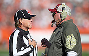 Arizona Cardinals head coach Bruce Arians complains about a call to an official on the sideline during the 2015 week 8 regular season NFL football game against the Cleveland Browns on Sunday, Nov. 1, 2015 in Cleveland. The Cardinals won the game 34-20. (©Paul Anthony Spinelli)