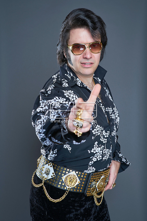 February 22, 2016. Las Vegas, Nevada.  The 22nd Reel Awards and Tribute Artist Convention in Las Vegas. Celebrity lookalikes from all over the world gathered at the Golden Nugget Hotel for the annual event. Pictured is  Elvis lookalike, Robert J McArthur.<br /> Copyright John Chapple / www.JohnChapple.com /