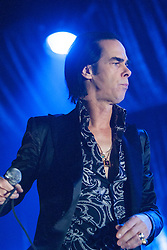 Open shirted frontman Nick Cave, of Nick Cave and the Bad Seeds, on stage tonight at The Barrowlands, Glasgow, Scotland.<br /> &copy;Michael Schofield.