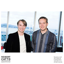 Pietari Inkinen;Vesa-Matti Leppänen at the Press conference announcing Pietari Inkinen as the NZSO's Music Director at Minter Ellison, The Lumley Centre, Auckland