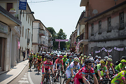 The peloton rides in the neutralised zone during the Giro Rosa 2016 - Stage 1. A 104 km road race from Gaiarine to San Fior, Italy on July 2nd 2016.