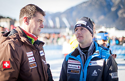 01.01.2014, Olympiaschanze, Garmisch Partenkirchen, GER, FIS Ski Sprung Weltcup, 62. Vierschanzentournee, Probesprung, im Bild Berni Schödler, Disziplinenchef Skisprung (SUI) spricht mit Martin Künzle, Trainer (SUI) // Berni Schödler, Disziplinenchef Skisprung (SUI) speaks with Martin Künzle, Trainer (SUI) during Trial Jump of 62nd Four Hills Tournament of FIS Ski Jumping World Cup at the Olympiaschanze, Garmisch Partenkirchen, Germany on 2014/01/01. EXPA Pictures © 2014, PhotoCredit: EXPA/ JFK