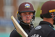 Jason Roy of Surrey concentrates during the Royal London 1 Day Cup match between Surrey County Cricket Club and Kent County Cricket Club at the Kia Oval, Kennington, United Kingdom on 12 May 2017. Photo by Jon Bromley.