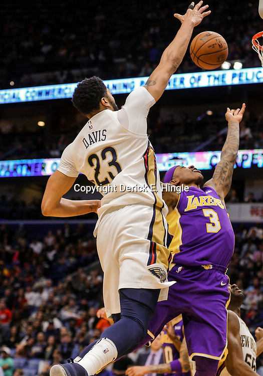 Mar 22, 2018; New Orleans, LA, USA; Los Angeles Lakers guard Isaiah Thomas (3) shoots over New Orleans Pelicans forward Anthony Davis (23) during the second quarter at the Smoothie King Center. Mandatory Credit: Derick E. Hingle-USA TODAY Sports