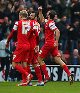 Gianvito Plasmati of Leyton Orient (right) celebrates scoring the opening goal against Crewe Alexandra during the Sky Bet League 1 match at the Matchroom Stadium, London<br /> Picture by David Horn/Focus Images Ltd +44 7545 970036<br /> 22/11/2014
