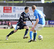 Dundee's Alex Harris takes on St Johnstone's Brian Easton - St Johnstone v Dundee, SPFL Premiership at McDiarmid Park<br /> <br />  - &copy; David Young - www.davidyoungphoto.co.uk - email: davidyoungphoto@gmail.com