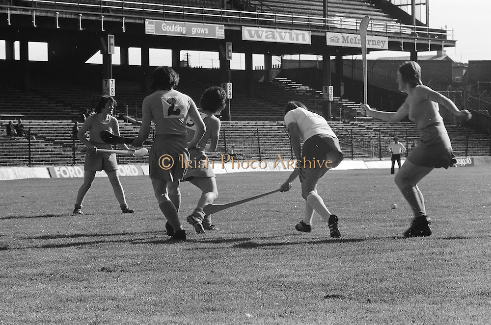 Cork and Wexford waiting on the slitor to come towards them during the All Ireland Senior Camogie Final Cork v Wexford in Croke Park on the 21st September 1975.