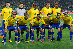 Team of Brazil during the 2010 FIFA World Cup South Africa Group G Second Round match between Brazil and République de Côte d'Ivoire on June 20, 2010 at Soccer City Stadium in Soweto, suburban Johannesburg, South Africa. (Photo by Vid Ponikvar / Sportida)