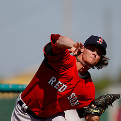 February 23, 2011; Fort Myers, FL, USA; Boston Red Sox starting pitcher Clay Buchholz (11) during spring training at the Player Development Complex.  Mandatory Credit: Derick E. Hingle-US PRESSWIRE