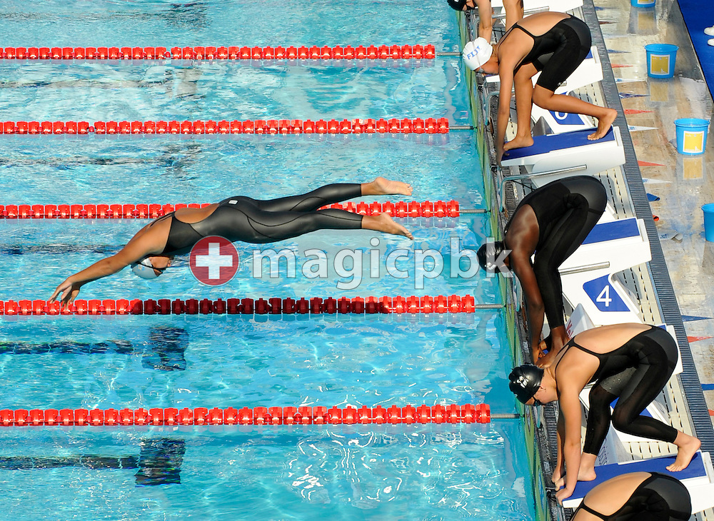 Stephanie Rasoamanana of of Madagascar does a false start in the women's 50m freestyle heats at the 13th FINA World Championships at the Foro Italico complex in Rome, Italy, Saturday, Aug. 1, 2009. (Photo by Patrick B. Kraemer / MAGICPBK)