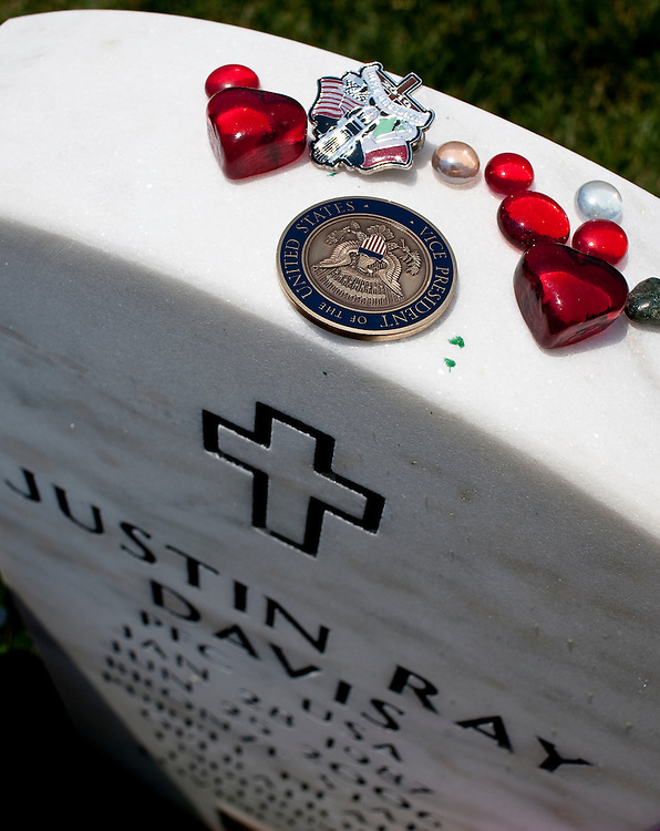May 31, 2010 - Washington, District of Columbia, U.S., - A Vice Presidential Coin left by VP Joe Biden during his visit Arlington National Cemetery on Memorial Day.(Credit Image: © Pete Marovich/ZUMA Press)