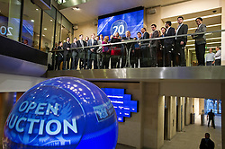 © London News Pictures. 12/02/2013 . London, UK. Mayor Of London, BORIS JOHNSON opening the days trading at the London Stock Exchange with XAVIER ROLET, CEO of London Stock Exchange Group (right).  Photo credit : Ben Cawthra/LNP