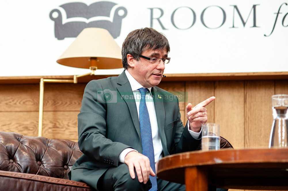October 3, 2018 - Amsterdam, Netherlands - October 3rd, Amsterdam. Carles Puigdemont, former President of Catalonia gave an interview at 'Room for Discussion' in Amsterdam. During this one-hour interview, they discussed the independence movement, the implications of the organized referendum and the possible role that the EU could play in resolving this conflict. A year ago on October 1st, 2017, Carles Puigdemont appeared in the headlines of international newspapers after having organized the unofficial referendum for secession of Spain. (Credit Image: © Romy Arroyo Fernandez/NurPhoto/ZUMA Press)