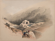 Fountain of Job, Valley of Hinnom, Jerusalem Color lithograph by David Roberts (1796-1864). An engraving reprint by Louis Haghe was published in a the book 'The Holy Land, Syria, Idumea, Arabia, Egypt and Nubia. in 1855 by D. Appleton & Co., 346 & 348 Broadway in New York.