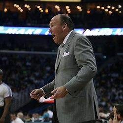 15 April 2008:  Los Angeles Clippers head coach Mike Dunleavy argues a call from the bench in the second half of the Hornets 114-92 Southwestern Division clinching victory over the Clippers at the New Orleans Arena in New Orleans, Louisiana.