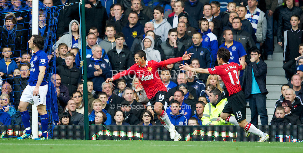 LIVERPOOL, ENGLAND - Saturday, October 29, 2011: Manchester United's Javier Hernandez celebrates scoring the first goal against Everton during the Premiership match at Goodison Park. (Pic by David Rawcliffe/Propaganda)