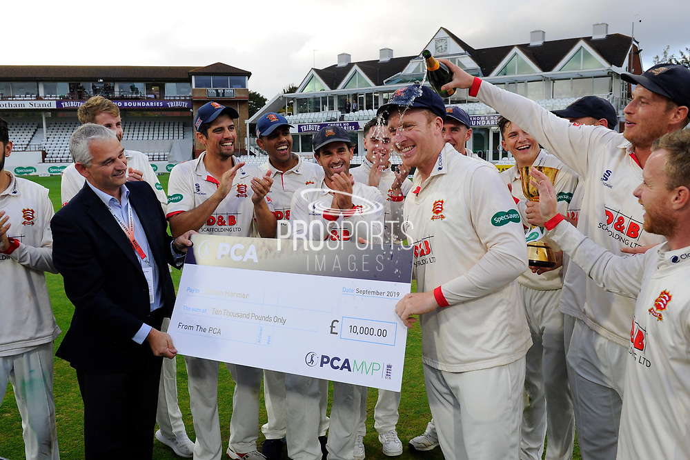Simon Harmer of Essex is presented with a cheque for £10,000 for being player of the year during the trophy presentation during the Specsavers County Champ Div 1 match between Somerset County Cricket Club and Essex County Cricket Club at the Cooper Associates County Ground, Taunton, United Kingdom on 26 September 2019.