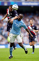 Photo: Daniel Hambury.<br /> Manchester City v West Bromich Albion. Barclaycard Premiership. 13/08/2005.<br /> Manchester City's Darius Vassell battles with  West Brom's Paul Robinson.