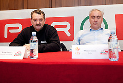 Brane Kuzma of Domstan Koroska A and Matjaz Glavac of Rudar during press conference of KZS before final basketball tournament of Spar Cup 2012, on February 14, 2012, in Austria Trend Hotel, Ljubljana, Slovenia. (Photo by Grega Valancic / Sportida.com)